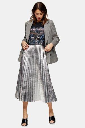 Silver Metallic PU Pleated Midi Skirt