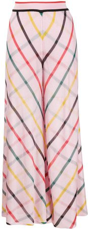 Wide Leg Checked Knit Trousers