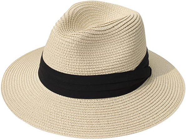 Lanzom Women Wide Brim Straw Panama Roll up Hat Fedora Beach Sun Hat UPF50+ (Khaki) One Size at Amazon Women's Clothing store