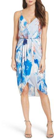 Print Faux Wrap Dress