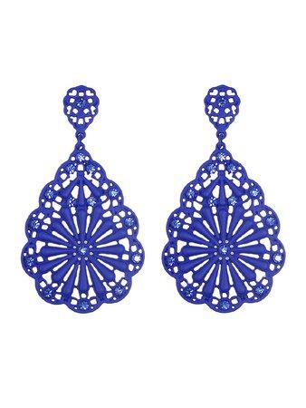 Blue Rhinestone Hollow Out Dangle Earrings