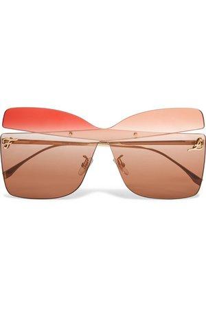 Fendi | Oversized square-frame gold-tone sunglasses | NET-A-PORTER.COM