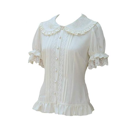 Smiling Angel Women's Doll Collar Bubble Sleeve Short Sleeves Chiffon Shirt Sweet Lolita Blouse at Amazon Women's Clothing store