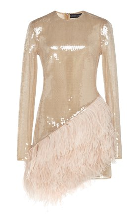 David Koma Feather-Trimmed Sequined Mini Dress