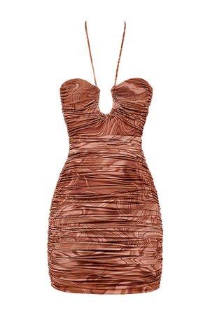 Clothing : Bodycon Dresses : 'Letitia' Cocoa Swirl Cutout Halter Mini Dress