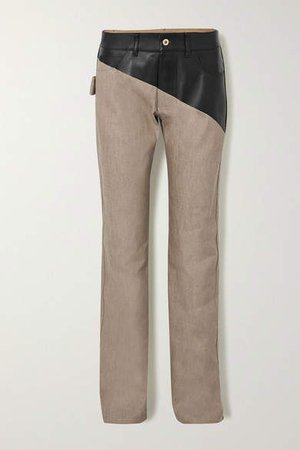 Leather-paneled High-rise Straight-leg Jeans - Beige