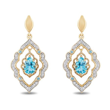Enchanted Disney Aladdin Pear-Shaped Swiss Blue Topaz and 1/6 CT. T.W. Diamond Arabesque Frame Earrings in 10K Gold | Blue Topaz December Birthstone | Birthstones | Collections | Zales