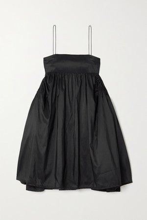 Lisbeth Gathered Taffeta Mini Dress - Black