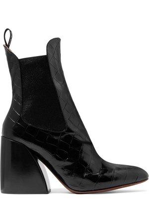 Chloé | Wave croc-effect leather ankle boots | NET-A-PORTER.COM