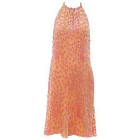 Chanel Tangerine and Pink Voided Silk Chiffon Velvet Halter Dress, Cruise 2001 For Sale at 1stdibs