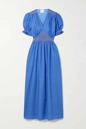 Marina Smocked Voile Dress - Blue
