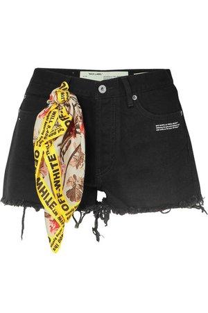 Off-White | Scarf-embellished distressed denim shorts | NET-A-PORTER.COM