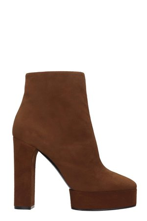 Casadei Manu High Heels Ankle Boots In Brown Suede