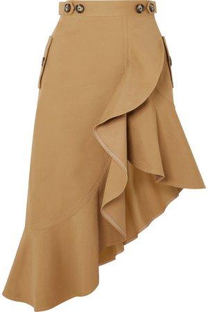 Self-Portrait | Asymmetric ruffled cotton-canvas skirt | NET-A-PORTER.COM