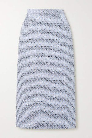 Sequined Tweed Midi Skirt - Blue