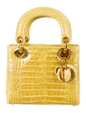 Small Crocodile Yellow Lady Dior Bag