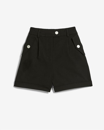 High Waisted Utility Pocket Rolled Hem Shorts | Express