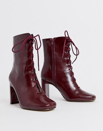 ASOS DESIGN Expression lace up heeled boots in burgundy | ASOS