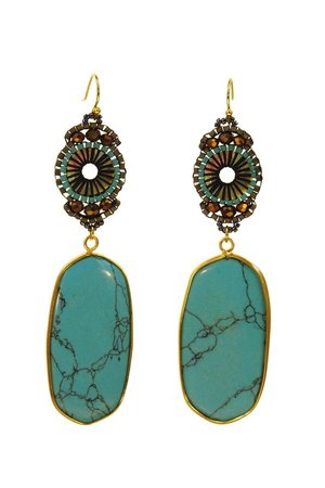 Intricately Beaded Turquoise Earrings - Headcovers