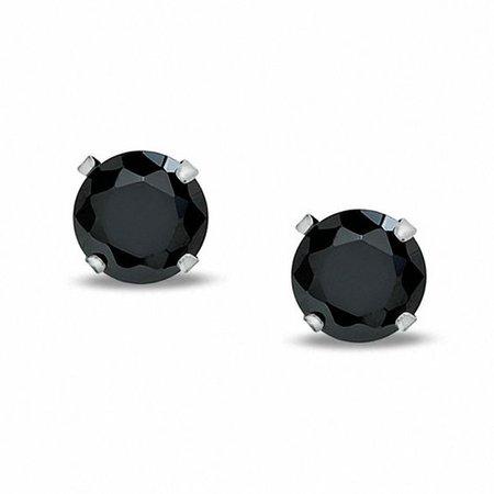 6mm Black Cubic Zirconia Stud Earrings in 10K White Gold | Cubic Zirconia Earrings | Earrings | Piercing Pagoda