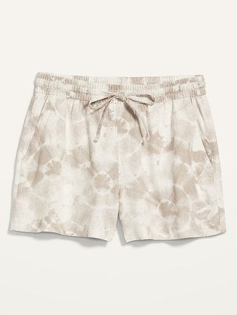 High-Waisted Printed Linen-Blend Shorts for Women -- 4-inch inseam | Old Navy