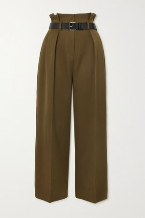 Belted Pleated Twill Tapered Pants - Army green