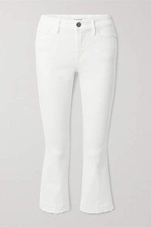Le Pixie Crop Frayed High-rise Bootcut Jeans - White