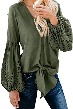 Amazon.com: Asvivid Womens Casual V Neck Balloon Long Sleeve Tops Hollow Out Tie Knot Blouses Oversized Solid Office Ladies Shirts S Green: Clothing