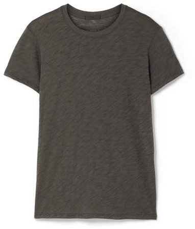 Schoolboy Slub Cotton-jersey T-shirt - Dark gray