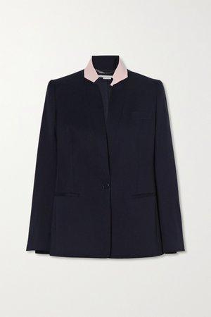 Navy Florence two-tone wool blazer | Stella McCartney | NET-A-PORTER