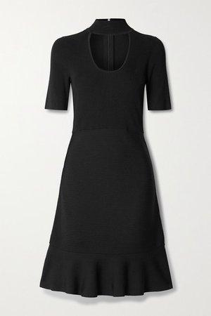 Cutout Ribbed Stretch-knit Mini Dress - Black