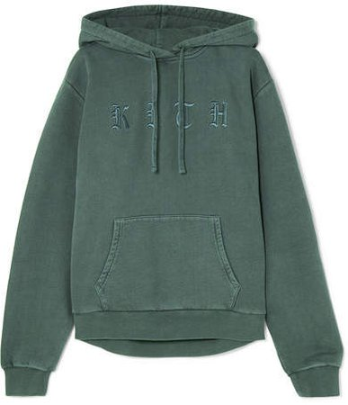 Kith - Serena Embroidered Cotton-jersey Hooded Top - Green