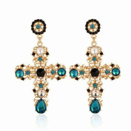 New Fashion Big Vintage Crystal Cross Drop Earrings for Women Party Jewelry Gift | eBay