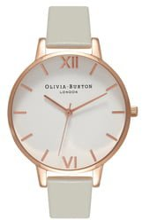 Big Dial Leather Strap Watch, 38mm