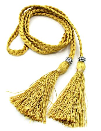 Gold Fringe Tassel with Antique Silver Bead Long Braided Rope Belt, belt, braided, tassel, bead, antique silver, gold, yellow, beautiful, fringe, accessories, cowgirl, boho, boho chic, bohemian, hippie, fashion, style, online shopping, cowgirls untamed