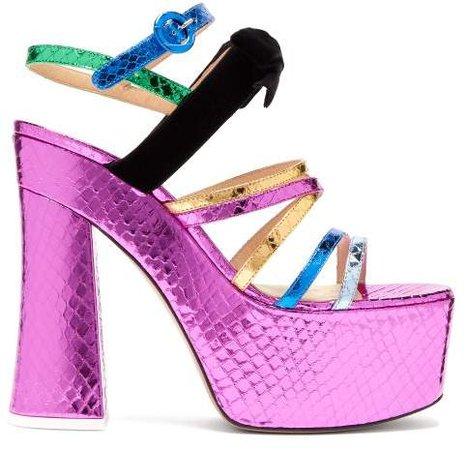 The Bibbi Snakeskin Effect Leather Platform Sandals - Womens - Multi