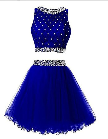 Royal Blue Two Pieces Homecoming Dress, School Outfit, Short Prom Dres – bbpromdress