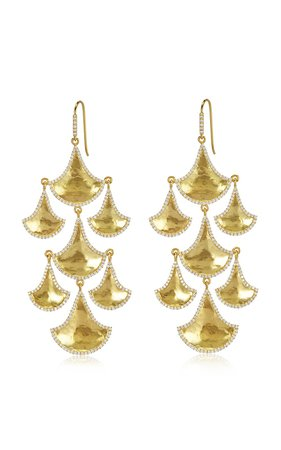Kimaya Fan Graduated 18K Yellow-Gold And Diamond Chandelier Earrings by Amrapali | Moda Operandi