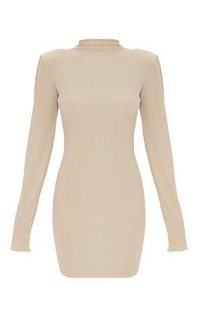 Stone Rib Shoulder Pad Lettuce Cuff Bodycon Dress | PrettyLittleThing USA
