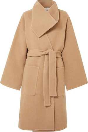 Belted Wool And Cashmere-blend Coat - Beige