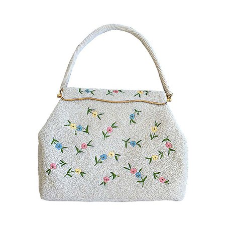 Beautiful 1960s 60s Large White Beaded Flower Purse For Sale at 1stdibs