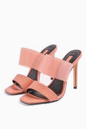 STELLA Blush Pink Transparent Mules   Topshop