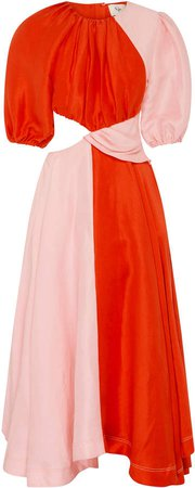 Aje Entwined Cutout Linen-Blend Dress