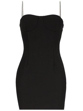 Black Area Embellished Strap Mini Dress | Farfetch.com