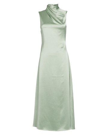 Brandon Maxwell | Silk High Neck Dress | INTERMIX®
