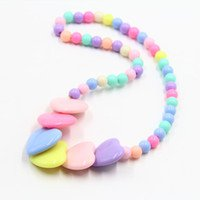 2018 Girls Party Pearl Necklace Plastic Acrylic Material Candy Colors Children'S Beaded Necklace Water Droplets From Lyflower, $3.78 | DHgate.Com