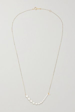 Gold 14-karat gold, diamond and pearl necklace | Mizuki | NET-A-PORTER