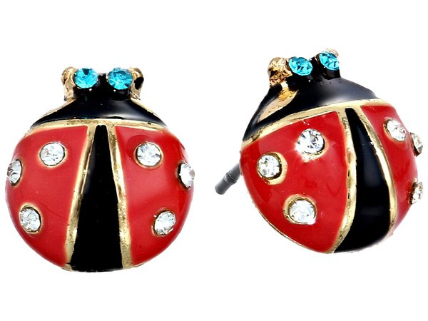 Betsey Johnson - Ladybug Studs (Black/Red) Earring