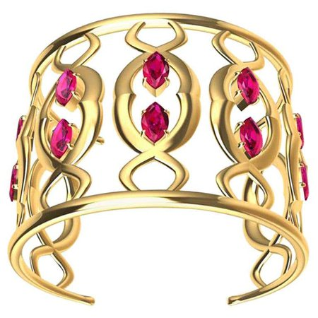 18ky Double Arabesque Cuff Bracelet with Rubies For Sale at 1stDibs