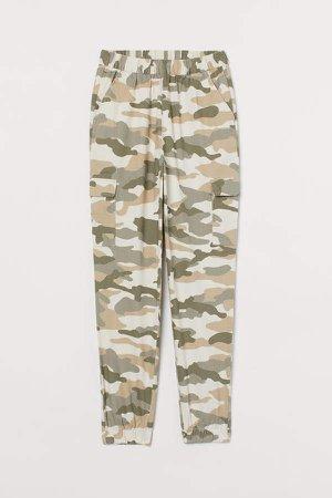 Twill Cargo Pants - Beige